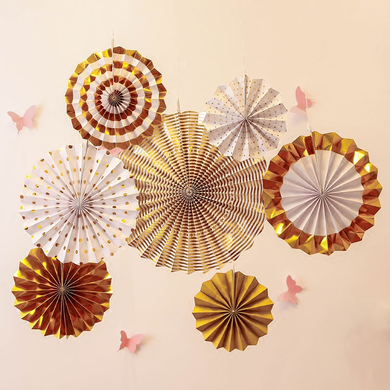 8pcs Gold Silver Rosettes Pom Wheels Ivory and Gold Pinwheels Party Paper Fans Rosettes Photo Backdrop Wedding Decoration-in Party Backdrops from Home & Garden
