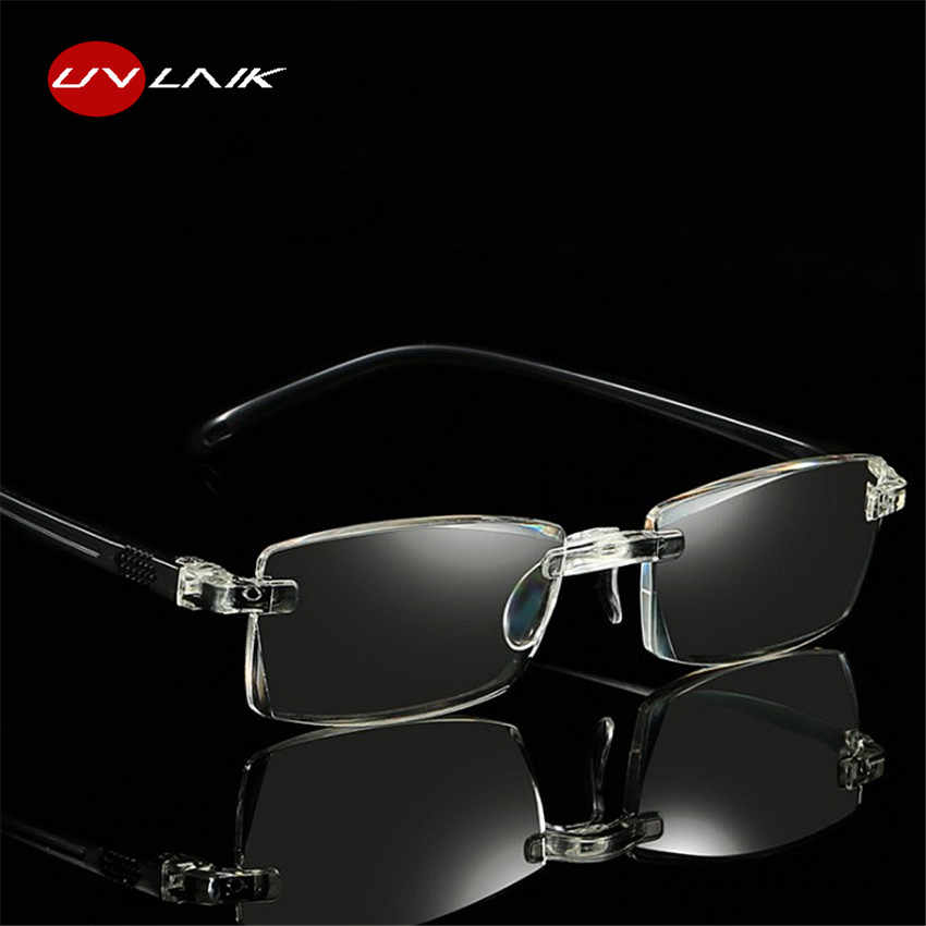 5b87f3aaeba UVLAIK Reading Glasses Women Men Optical Rimless Glasses High Clear Pink  Readers Presbyopic Eye Glasses 1.0