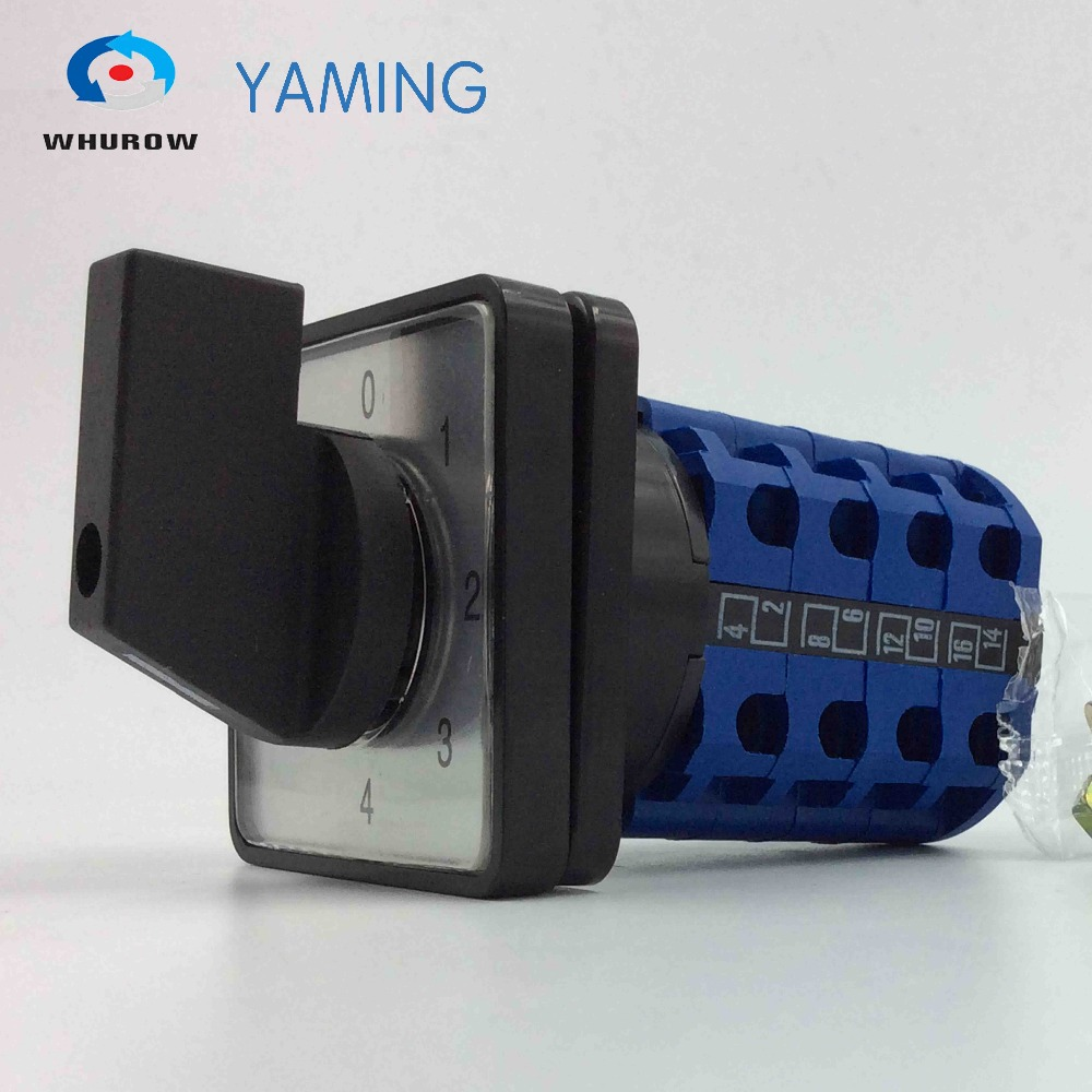 Yaming electric YMW26-20/4 20A 4 poles 0-4 position control motor circuit Universal changeover rotary cam switch 660v ui 10a ith 8 terminals rotary cam universal changeover combination switch