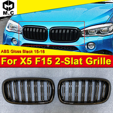 For BMW F15 X5 X5M style ront Kidney grille grill ABS New Gloss Black With Badge 1 Pair 2 Slats Front Bumper 1:1 Replacement 15+