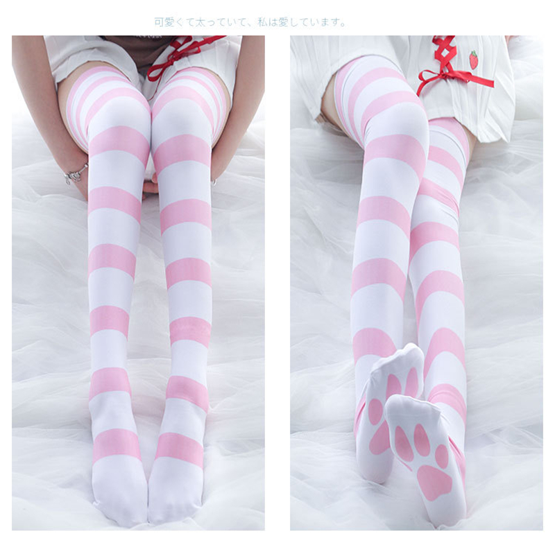 Japanese Girls Pink Stripe Pattern Cat Claw Printed Stockings Lolita 120DVelvet Overknee Tights Socks Cosplay Overknee Stockings
