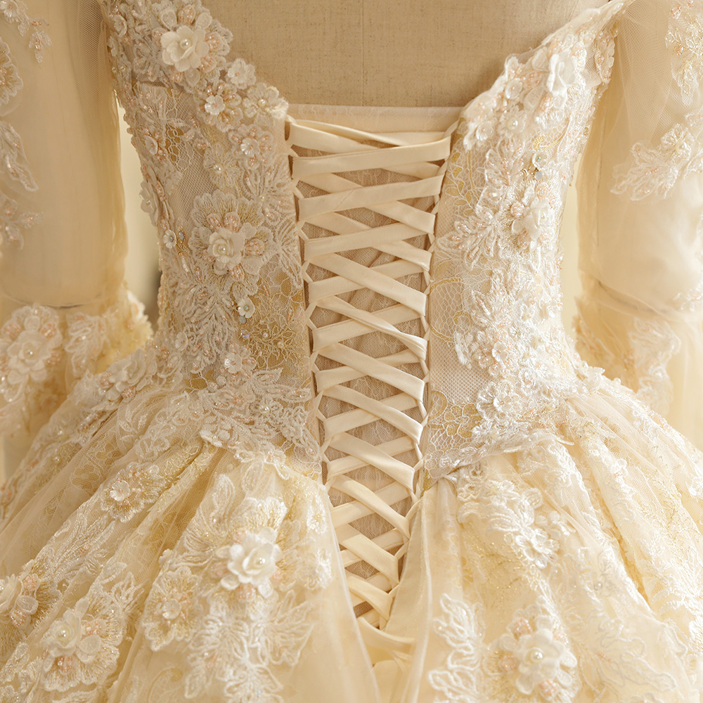 SL-7808 Kerk Strapless Backless Kant Appliques Kralen Driekwart Mouw - Trouwjurken - Foto 5