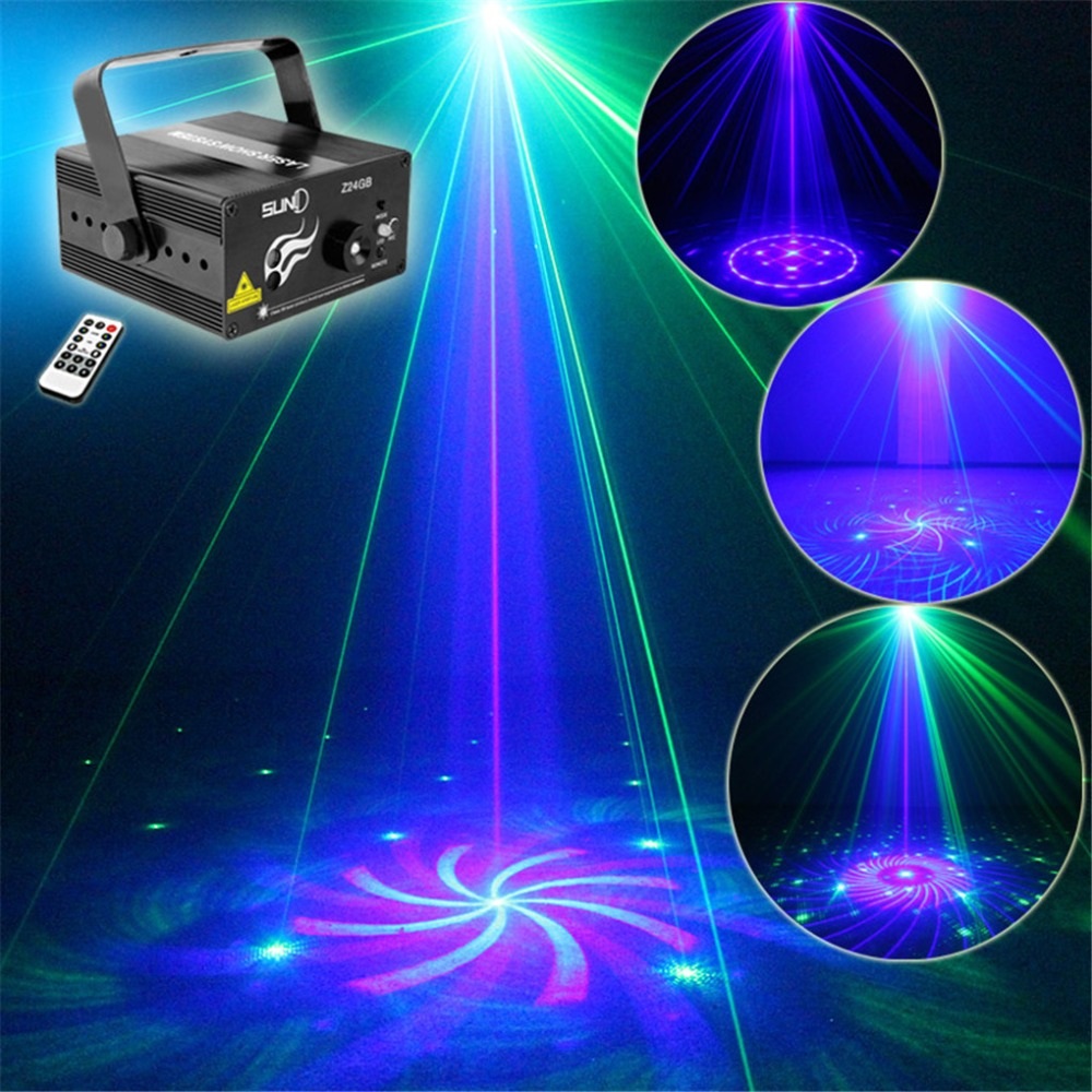 ФОТО New Mini IR Remote 24 Big Pattern Mini GB Laser Projector Lights 3W Blue LED Mixing Cross Effect DJ KTV Stage Lighting AZ24GB
