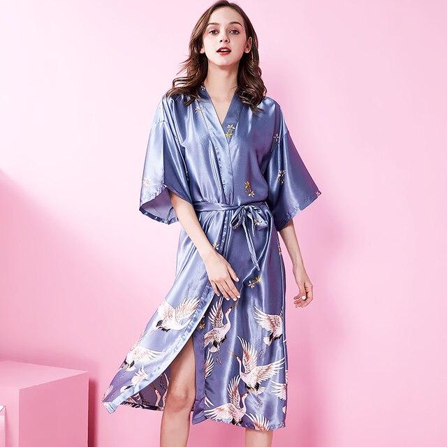 93f13a02ab US $14.57 46% OFF Gary Vintage Japanese Ladies Kimono Yukata Sexy Silk  Rayon Robe Night Gown Mujer Pijama Plus Size S M L XL XXL XXXL R002 B-in  Robes ...