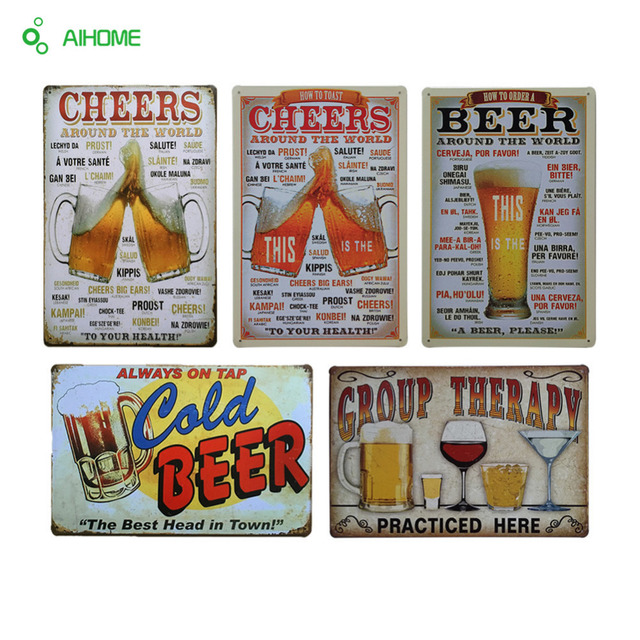 AIHOME Vintage Tin Signs Beer Around The World House Cafe Bar Restaurant Home Decor Poster Metal Craft Art Painting