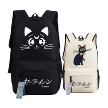 Sailor Moon Kawaii Luna Cat Women Cute Backpack Mochila Feminina Canvas School Bags Luna Laptop Backpack Cat Bookbag Rucksack