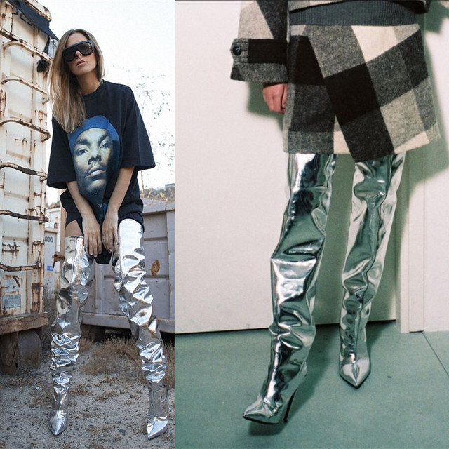 Women Thigh High Boots Silver Mirror Leather Over Knee