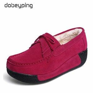 Image 5 - 2018 חדש אביב קיץ פרה זמש עור נעלי אישה שרוכים שטוח פלטפורמת נשים נעלי נשים של נעלי מוקסינים נקבה סניקרס