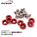 Pivot - D1 Spec 8 Pcs M6 x 20 Headlights Bumpers Fender Washers Kit Bolt Screw Engine Red Color Fit For HONDA D1-DP01S