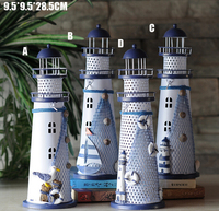 9 5 28 5 CM Mediterranean Style Lighthouse Wrought Iron Candlestick Candle Holder Home Decoration