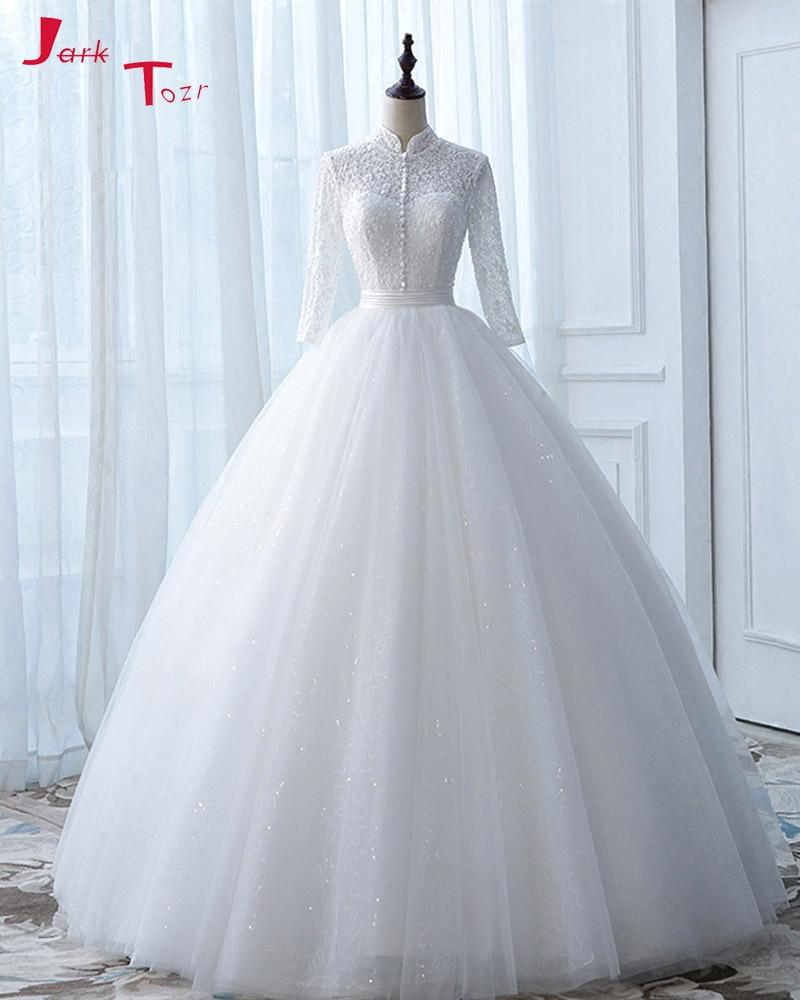 Jark Tozr New Arrive High Neck Open Back Long Sleeve White Ball Gown Wedding Dress None Train Gelinlik Vintage Bridal Gowns 2017