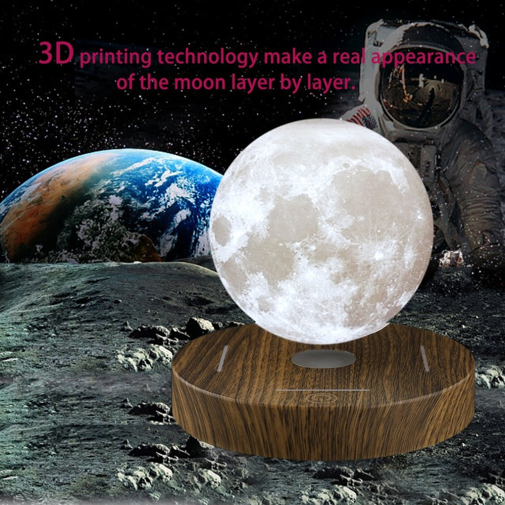 Magnetic Levitating 3D Moon Lamp Wooden Base 10cm Night Lamp Floating Romantic Light Home Decoration for Bedroom EU Plug 3d levitation moon lamp magnetic floating led night light levitating toy gift wireless power supply creative home night lamp