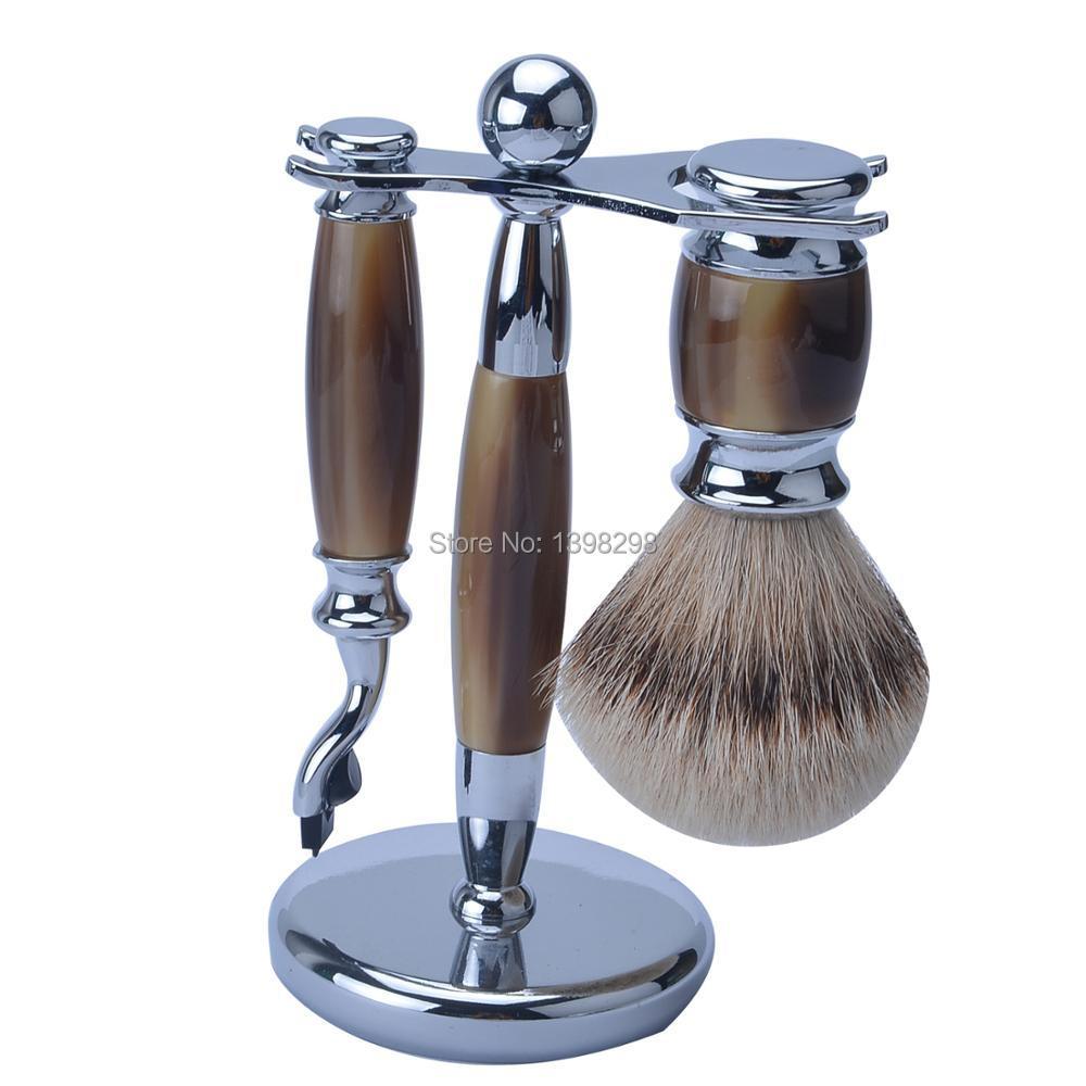 Hoge kwaliteit exclusieve faux ox hoorn scheerkwast kit acryl handvat scheren scheermes scheren set silvertip badger-in Zeepkwast van Schoonheid op  Groep 1
