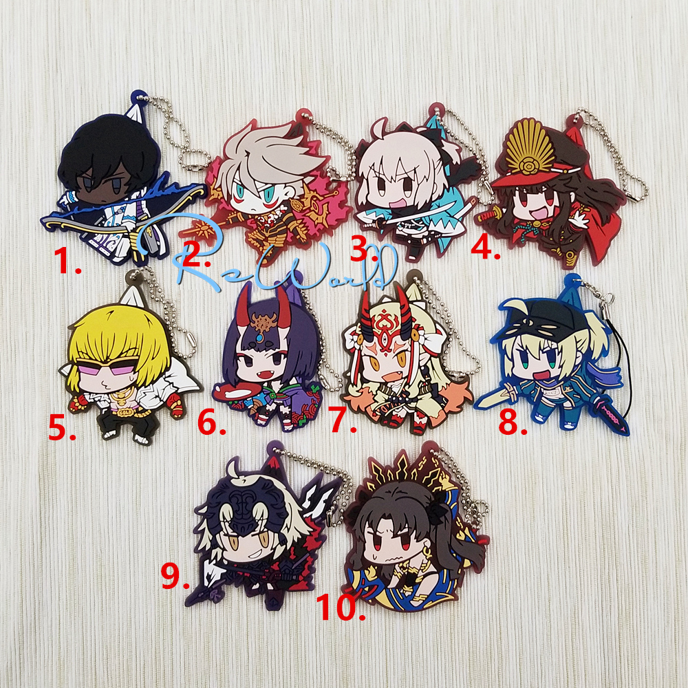 Fate/Grand Order Anime Arjuna Karuna Okita Souji Golden Shuten Ibaraki Doji X Alter Joan of Arc Ishtar Rubber Strap Keychain fate grand order fate apocrypha anime jack the ripper assassin mordred astolfo joan of arc atalanta semiramis rubber keychain