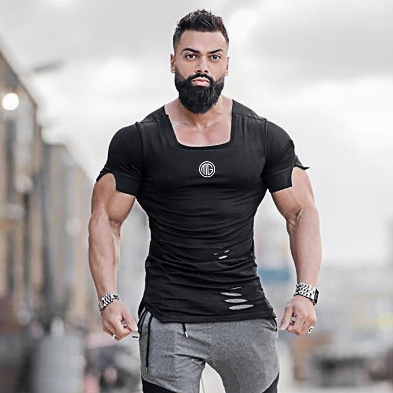 New 2019 Cotton Men's T shirt Vintage Ripped Hole T-shirt Men Fashion Casual Top Tee Men Hip Hop Activewears Fitness Tshirt Male