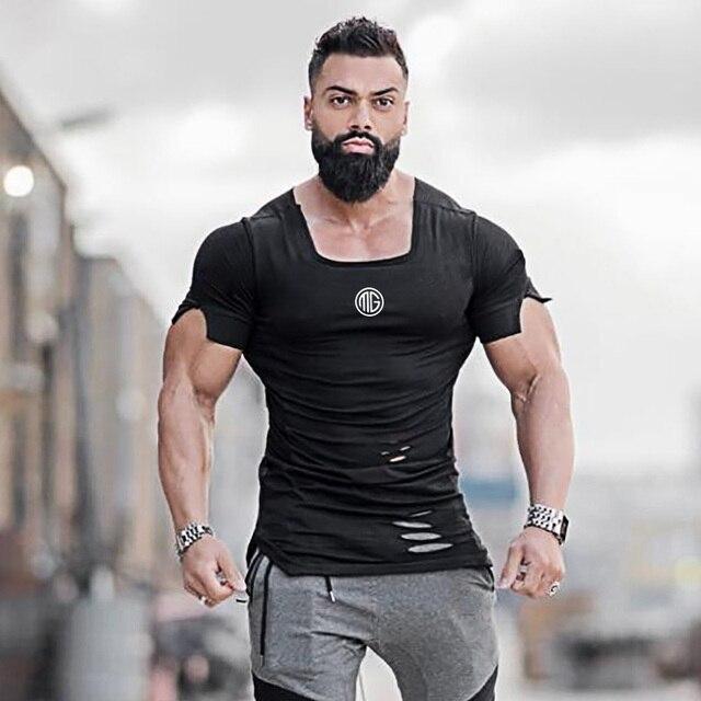 Новинка 2019 хлопок мужские футболки винтажные, с дырами футболки мужские модные повседневные футболки мужские хип-хоп спортивная одежда фитнес футболки мужские