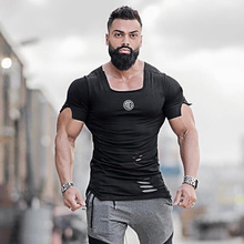 New 2019 Cotton Men s T shirt Vintage Ripped Hole T shirt Men Fashion Casual Top
