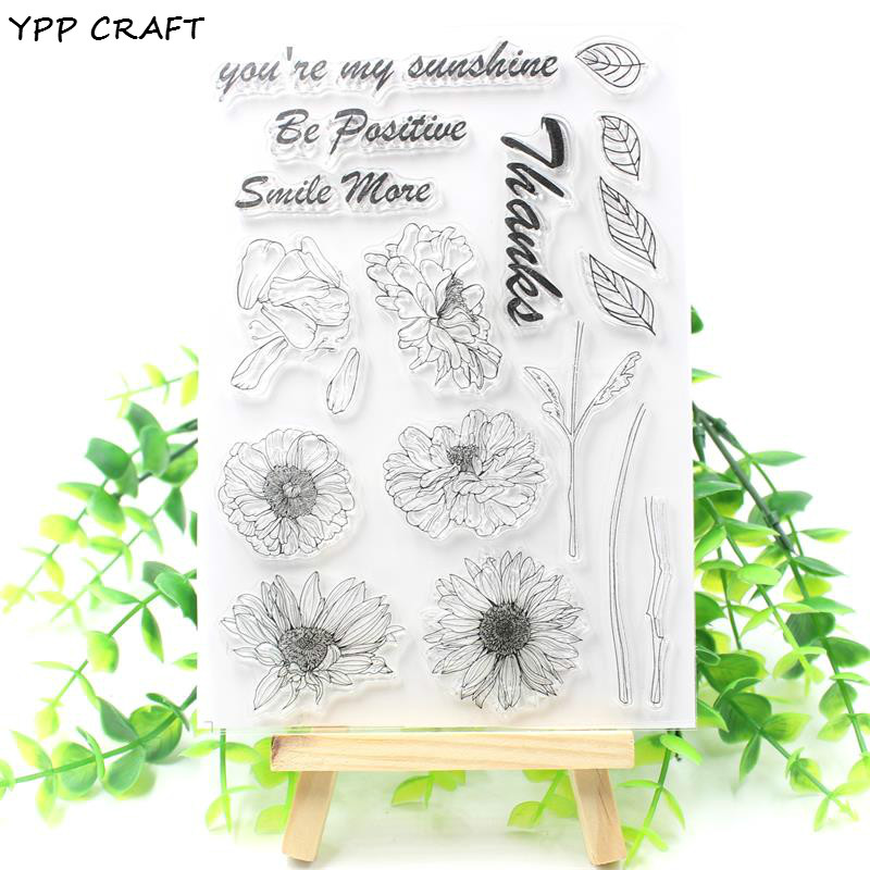 YPP CRAFT Sunflowers Transparent Clear Silicone Stamp/Seal for DIY scrapbooking/photo album Decorative clear stamp about lovely baby design transparent clear silicone stamp seal for diy scrapbooking photo album clear stamp paper craft cl 052
