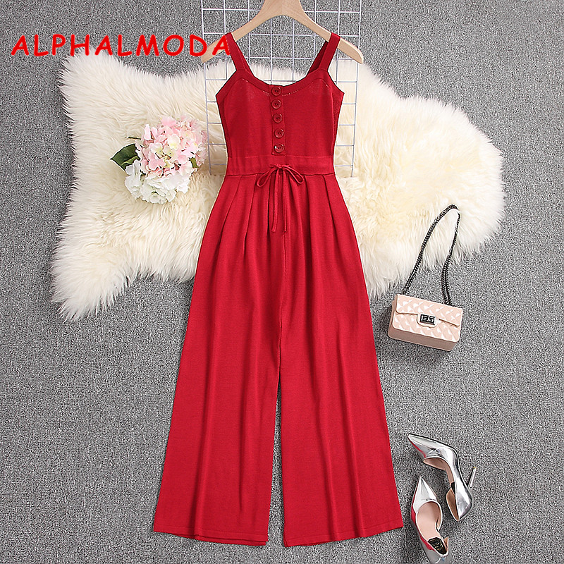 ALPHALMODA Spring Women Mid-calf Knitted   Jumpsuits   Singe Breasted Slim Waist Flare Leg Ladies Casual Solid Knitting Rompers