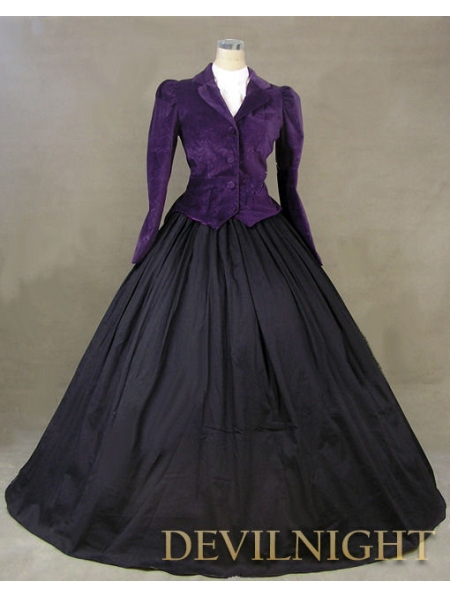 Fialová bunda zimní gotické viktoriánské kostýmy