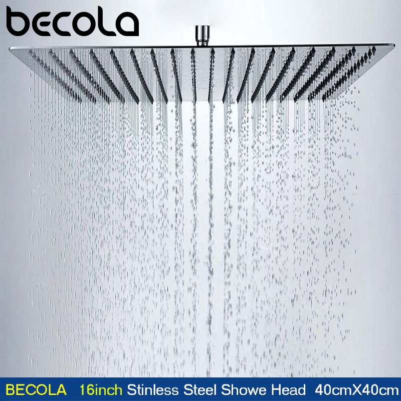 BECOLA 16Inch 40cmX40cm Square Stainless Steel Ultra-thin Shower Heads Bathroom Square Overhead Rainfall Shower Head CP-1616