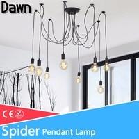 Modern Nordic Pendant Lights Vintage Loft Antique Adjustable Retro Led bulb E27 Spider Pendant Lamp for Home Lighting