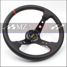 car styling Racing Steering Wheels 14 inch leather Black Drifting Steering Wheel Genuine Leath steering wheel and yellow harness