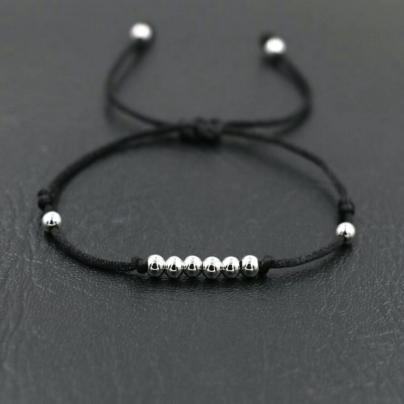 BPPCCR 4MM Copper Beads Silver Color Red Black Rope Strings Thread Braid Bracelets For Men Women Lucky Pulseras Lovers Gifts