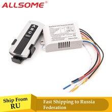 Allsome 3 way porto de ligar/desligar transmissor receptor interruptor controle remoto sem fio rf digital para lâmpada luz 220 v ht034 +
