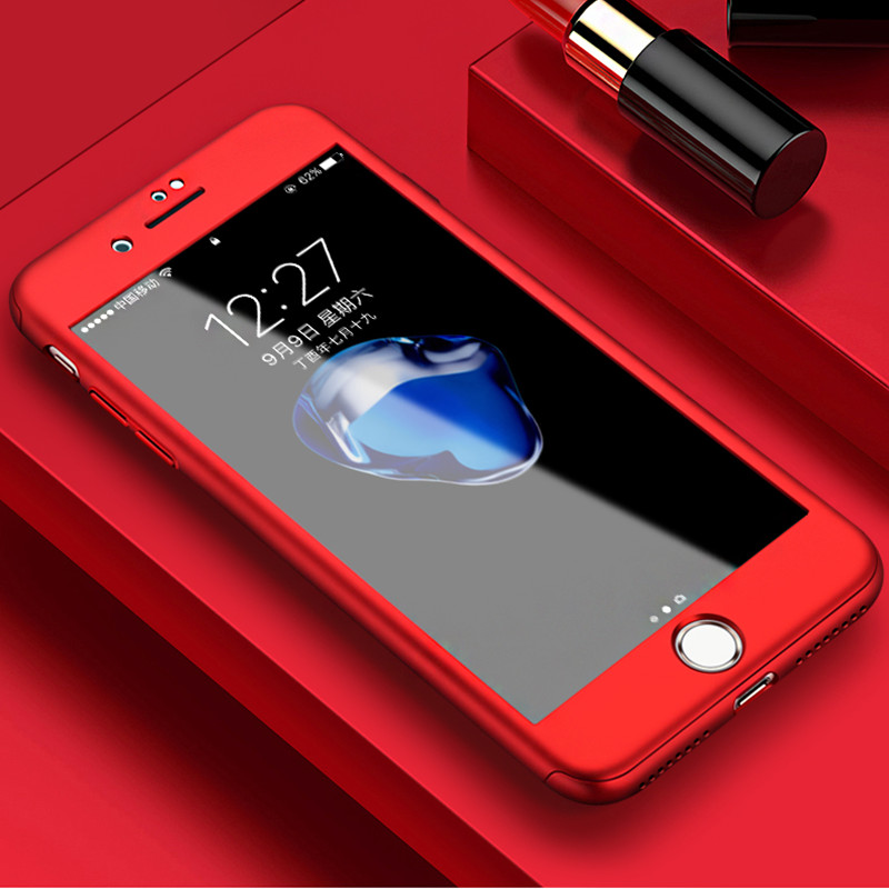 the best attitude 7bd9d 29868 Luxury Full Cover Iphone 6S 6 7 8 Plus Cases 360 Degree Wish Tempered Glass  Cover For Iphone 6 8 7 Case Cover