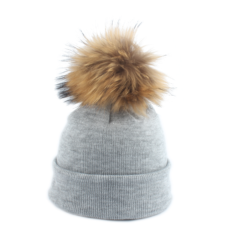 Real Raccoon Fur Pompom Hat For Girls And Boys Kids Cotton Knitted Beanie Cap Crochet Pompon Bobble Winter Children's Hats Caps
