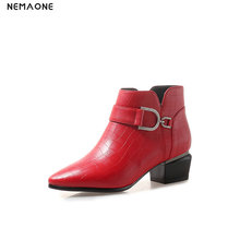 NEMAONE 4cm med Heels women Ankle Boots poined toe mather shoes woman autumn winter boots Black red gray large size 43