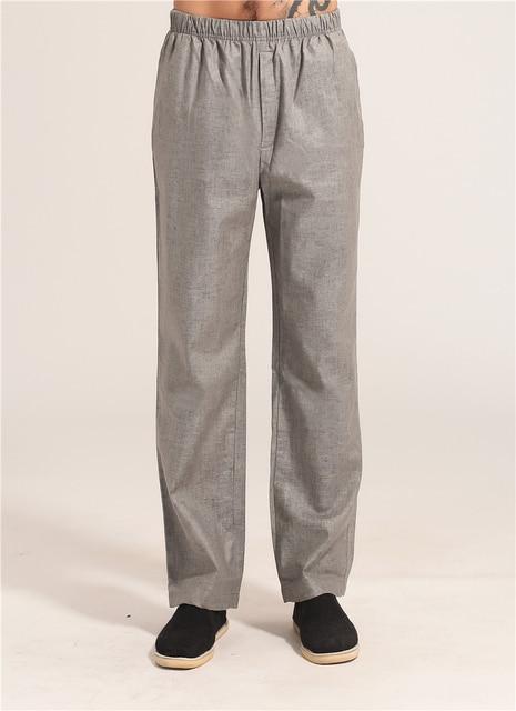 Светло-серый мужчин кунг-фу брюки китайский стиль хлопок белье брюки широкий свободного покроя в середине талии размер sml XL XXL XXXL MNP07