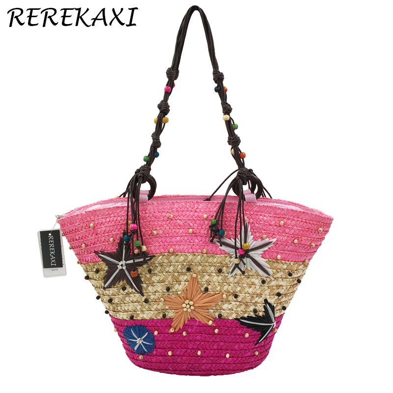 <font><b>REREKAXI</b></font> New Straw Bag Fashion Women Shoulder Bags Large Capacity Beach Bag Wheat Pole Weave Handbag Starfish Ladies Tote image