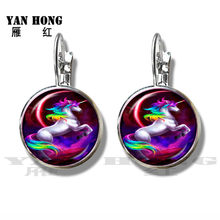 Unicorn Horse Earrings 16mm Glass Dome Cabochon Charm Silver Plated Stud Earrings For Women Girl Best Gift(China)
