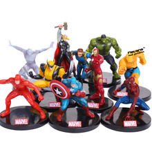Superheroes Avengers PVC Action Figures Toys 10pcs/set Hulk Logan Thor Spiderman Iron Man Quicksilver Ben Grimm