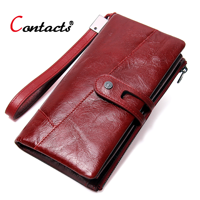 Contact's Women Wallet Female Genuine Leather Wallet Red Women Purse Organizer Credit Card Holder Phone Clutch Ladies Coin Purse tinyffa brand woman wallet female purse women credit card holder for phone coin purse clutch organizer leather ladies walet long