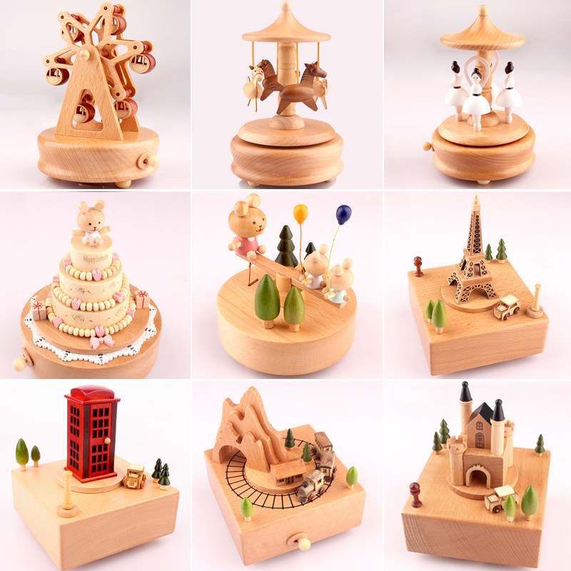 Music Box Wooden Music Box Home Creative Wood Carousel Crafts Valentine's Day Gifts Musical Jewelry Box Music Gift 3