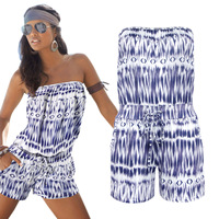 Sell Through Ebay Summer Hot Style Fashion Wipes Bosom A Printed Word Shoulder Jumpsuits Run