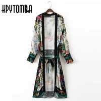 2017 Vintage Leaves Flower Print With Sashes Kimono Women Shirt New Bandage Long Cardigan Blouse Tops
