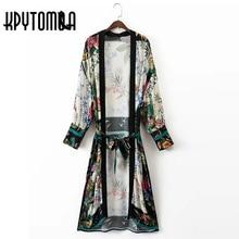 2017 Vintage Leaves Flower Print With Sashes Kimono Women Shirt New Bandage Long Cardigan Blouse Tops Blusas Chemise Femme Blusa