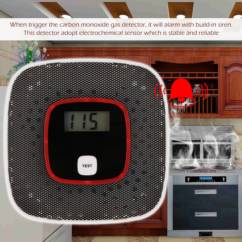 LCD Display CO Detector Carbon Monoxide Alarm Sensor Poisoning Gas Tester Human Voice Warning Detector For Alarm System in Gas Analyzers from Tools