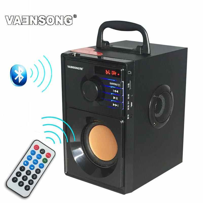 Hi Fi 2.1 Kayu Stereo Subwoofer Bluetooth Speaker FM Radio Portabel Speaker Mp3 Bermain Super Bass Loudspeaker Komputer Kolom