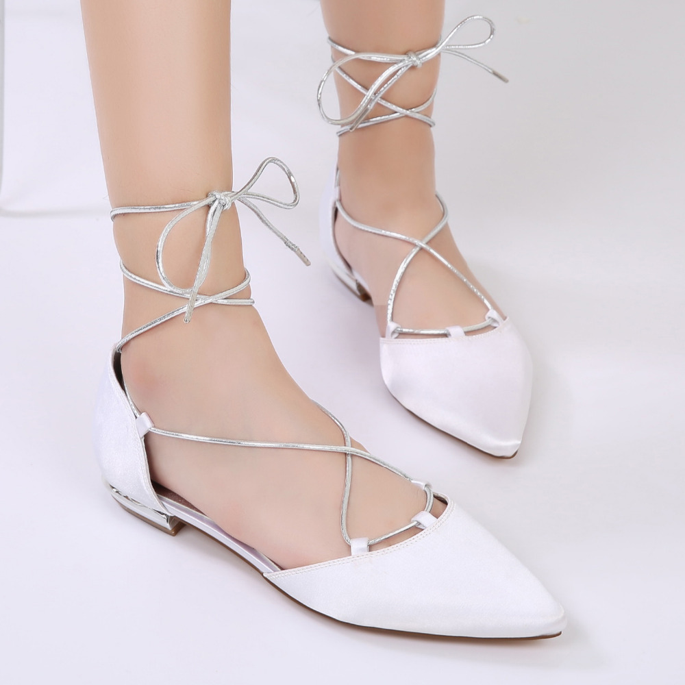 c05baf55e5fa Creativesugar pointed toe lady satin evening dress shoes flats Rome style  silver strap lace up bridal
