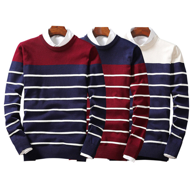 Fancy FUNOC 2017 Autumn Winter NEW Men Sweater Striped Pull Homme Pullover Men Casual Leisure Jersey Hombre Cotton Plus Size