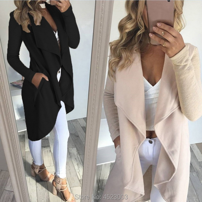 Women Asymmetric Turn down Collar Trenchcoat Solid Color Large Laple Long Sleeve Cardigan Windbreaker