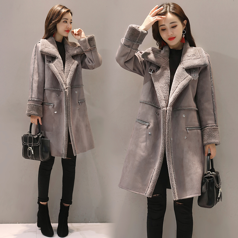 NEW 2017 Winter Lambswool Suede Jacket Thicken Coat Warm Long Sleeve Jacket Women autumn female Long Overcoat