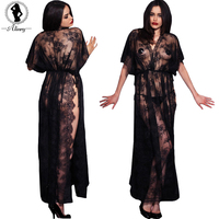 2016 New Sexy Lingerie Hot Black Lace Print Split Temptation Sexy Chemises T Thongs Straps Perspective