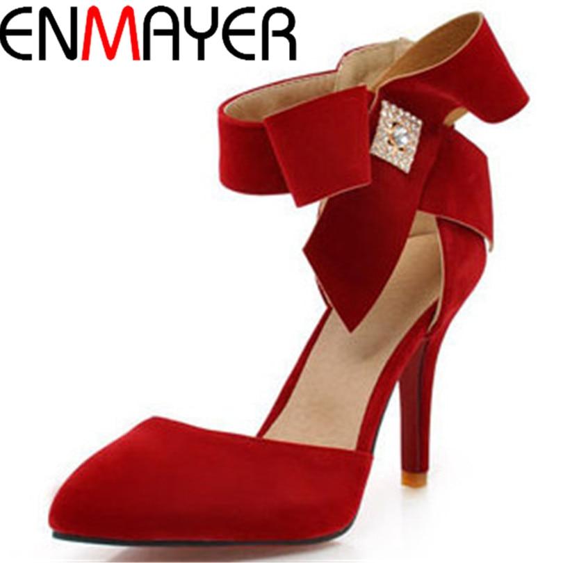 ФОТО ENMAYER Fashion Charming Bow Front Women Sandals High Heels Ankle-Wrap Platform Party Shoes Hidden Platform Large Size Sandals