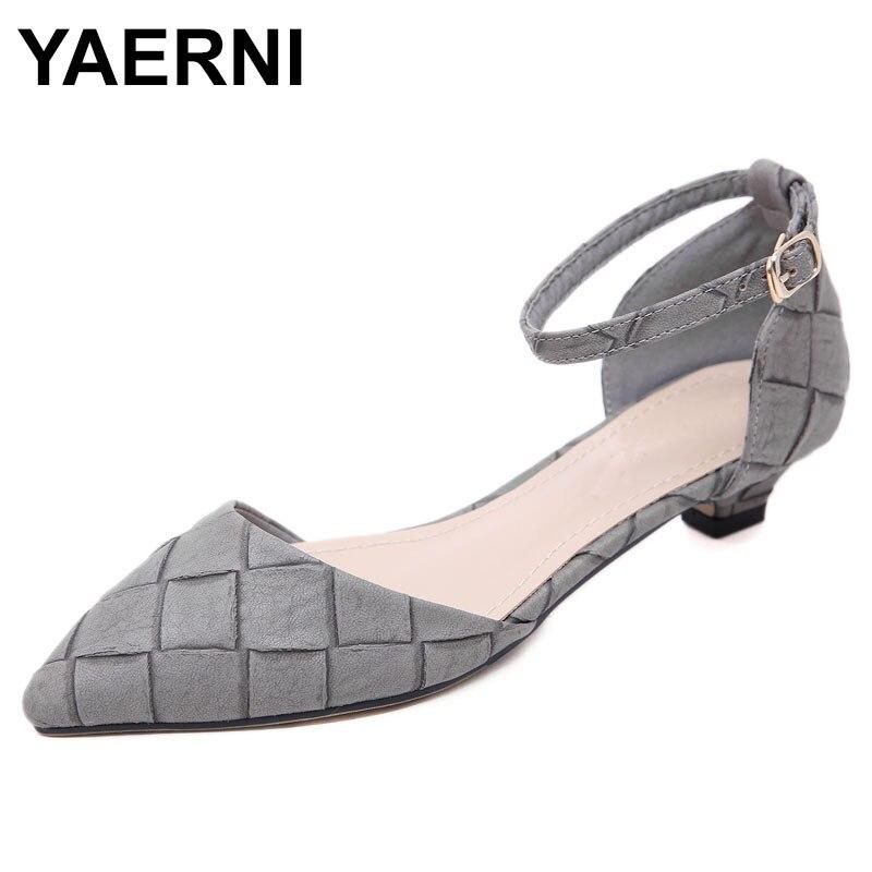 YAERNI 2019 Women Retro Low Heels Shoes Woman Fashion Pointed Toe Sweet Party Dress OL Pumps Plus size 35-42 Ankle StrapE812
